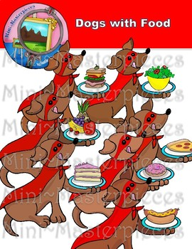 Clip Art: Dogs with Food-Dachshunds Ready to Eat