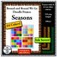 Clip Art Doodle Frames - 4 Seasons - Ink Savers - 64 Colors!