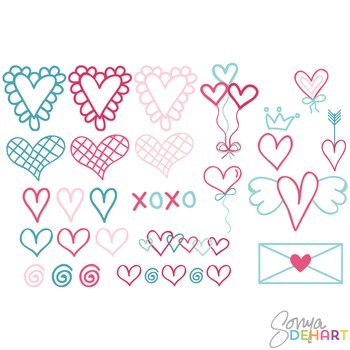 Clipart - Doodled Valentine Love Elements