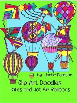 Clip Art Doodles Kites and Hot Air Balloons