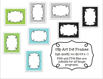 Clip Art: Dot Frame in Aqua, Green, Grey Black