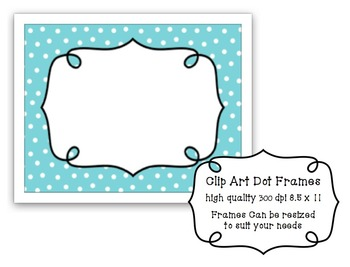 Clip Art: Dot Frame in Aqua, Green, Grey Black