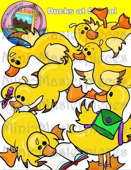 Clip Art: Ducks at School