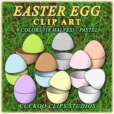 Clip Art: Easter Egg Halves in Pastel Colors