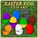 Clip Art: Easter Egg Halves in Standard Colors