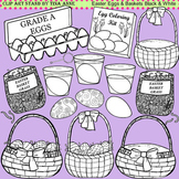 Clip Art Easter Eggs & Baskets in black and white