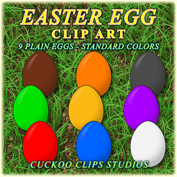 Clip Art: Easter Eggs in Standard Colors