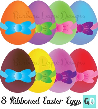 Easter Eggs Clipart, Eggs with Ribbons Clip Art