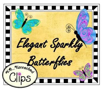 Clip Art ~ Elegant Sparkly Butterflies