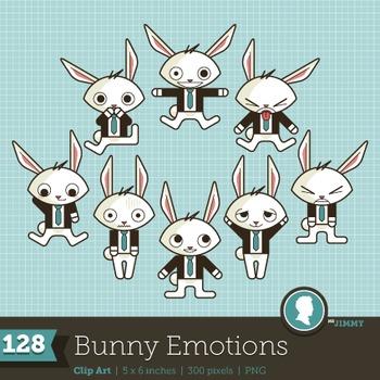 Clip Art: Emotions Feelings Bunny Business 128