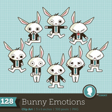 Clip Art: Emotions Feelings Bunny Business 128