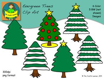 Clip Art: Evergreen & Christmas Trees (FREE)