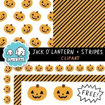 Clip Art: FREE Jack O'Lantern and Stripes Halloween Borders and Digital Papers