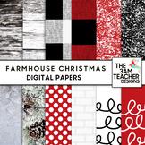 Clip Art: Farmhouse Christmas Digital Papers Set