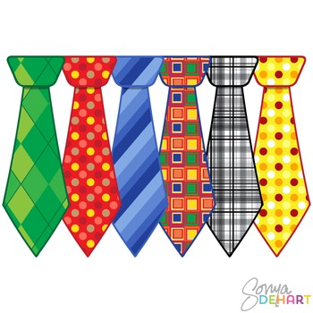 Clipart - Father's Day Pattern Neckties