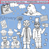Clip Art February in black and white