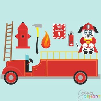 Clipart - Fire Truck Set