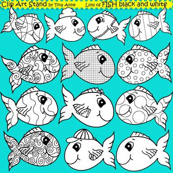 Clip Art Fish in black and white