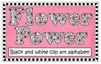 Clip Art - Flower Power Alphabet (black & white)