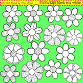 Clip Art Flowers in black and white
