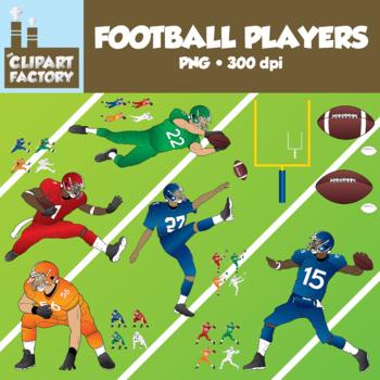 Clip Art: Football Players Pack - Assorted Football Themed Clip Art