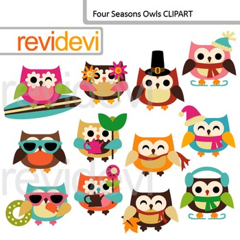 Clip Art Four Seasons Owls / Holidays owl clipart (commerc