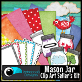 Mason Jar Clip Art: Kit with Frames, Papers, Mason Jars an