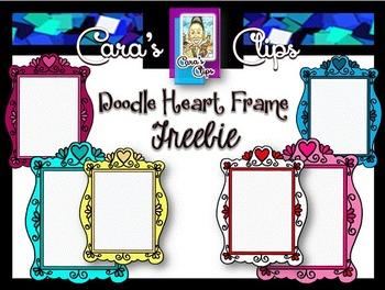 Clip Art Freebie~ Doodle Heart Frames