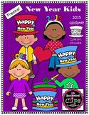 Clip Art Freebie - Happy New Year Kids