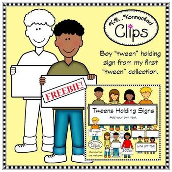 Clip Art Freebie! Tween Boy with Sign