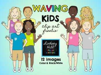 Waving Kids {Clip Art Freebie}