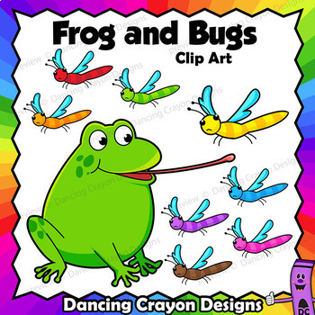 Clip Art Frog and Bugs | Clipart Set
