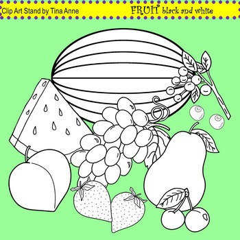 Clip Art Fruit in black and white