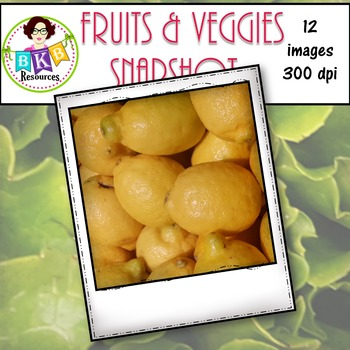 Clip Art - Fruits & Veggies Snapshot Set 1 {Graphics for Commercial Use}