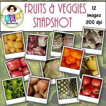 Clip Art - Fruits & Veggies Snapshot Set 1 {Graphics for C
