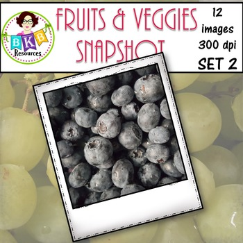 Clip Art - Fruits & Veggies Snapshot Set 2 {Graphics for Commercial Use}