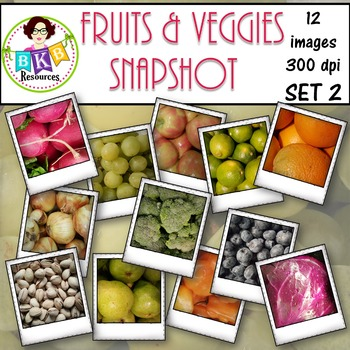 Clip Art - Fruits & Veggies Snapshot Set 2 {Graphics for C