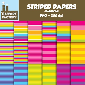 Clip Art: Fun Rainbow Striped backgrounds - 18 Digital Papers