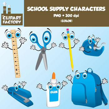 Clip Art: Fun School Supply Characters - 7 Color, 7 Black & White