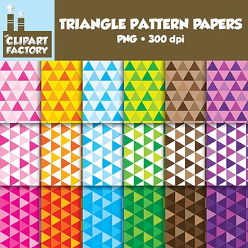 Clip Art: Fun Triangle pattern backgrounds - 18 Digital Papers