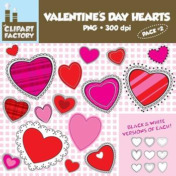 Clip Art: Fun Valentine's Day Hearts #2- Digital Valentines