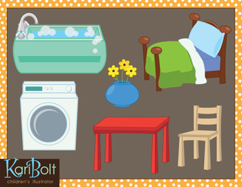 Clip-Art Furniture and Appliances Around the Home