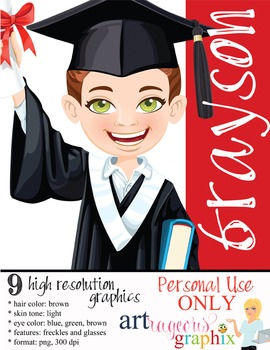 Clip Art - GRAYSON - male, boy, student, digital graphics