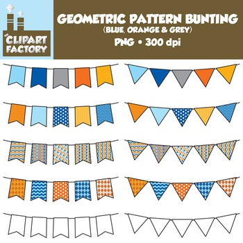 Clip Art: Geometric Pattern Bunting - 10 Fun Blue, Orange, Grey Banners