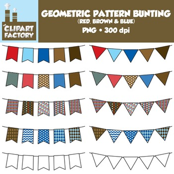 Clip Art: Geometric Pattern Bunting - 10 Fun Red, Blue, Brown Banners