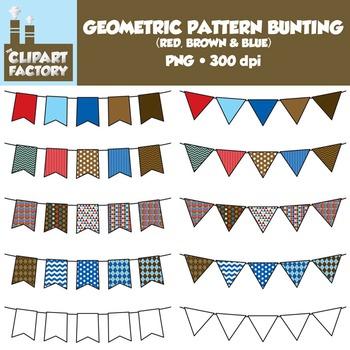 Clip Art: Geometric Pattern Bunting - 10 Fun Red, Blue, Br