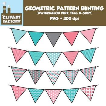 Clip Art: Geometric Pattern Bunting - 10 Fun Watermelon Pink, Teal, Grey Banners