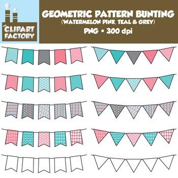Clip Art: Geometric Pattern Bunting - 10 Fun Watermelon Pi