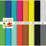 Clip Art: Geometric Pattern in bright multi colors - 32 Di