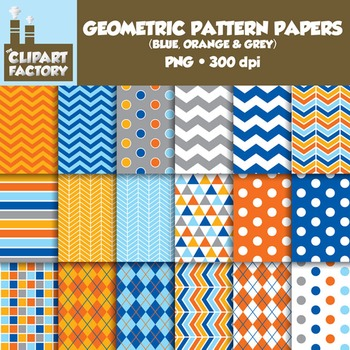 Clip Art: Geometric Patterns-Blue, Orange, Grey - 18 Digital Papers